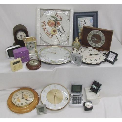 1029 - Clocks incl. London Clock Co., Jones, Metamec electric, small alarm clocks, barometer, Lincoln carri...