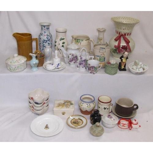1035 - Vases, Elgreave pottery jug, Burslem jug, Limoges miniature ewer, Purbeck trinket box, small Chokin ...