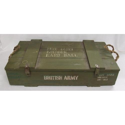 1006 - Ammunition Box marked 'British Army Fuze M213 MEI86K Hard Ball'...