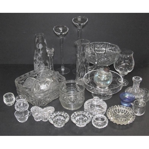 1037 - Moulded Glass Fruit Bowls, crystal fruit stand, water jug, custard cups, candlesticks, salts, butter...