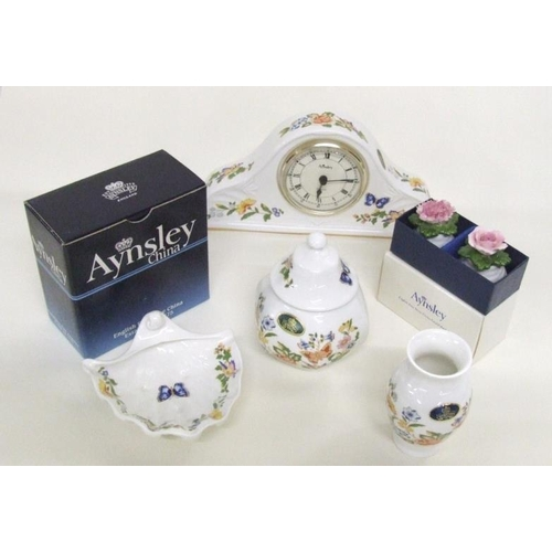 609 - Aynsley Cottage Garden Mantel Clock with quartz movement, baluster shaped vase, hexagonal pot & cove...