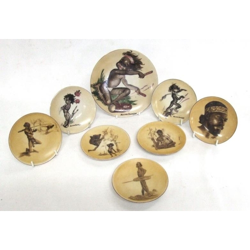 620 - 1 Large & 2 Small Brownie Downing Aborigine Plates & 5 Similar Decorative Plates, smallest approx. 4...