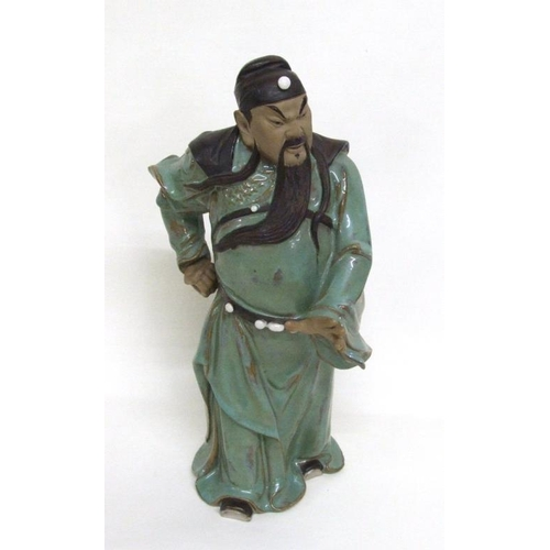 613 - Large Chinese Glazed Pottery Warrior?, approx. 13