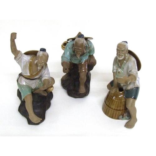 601 - Group Chinese Glazed Pottery Figures Fishermen (2)...