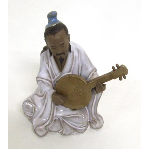 606 - Glazed Pottery Chinese Figurine Musician...