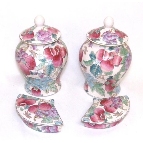 618 - Pair Chinese Baluster Shaped Vases with domed covers, approx. 10