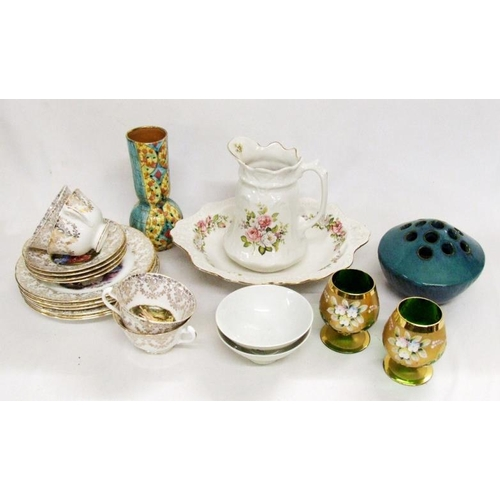 1008 - Imperial Bone China Part Tea Set decorated with figures in garden, 2 small Chinese rice bowls, pair ...