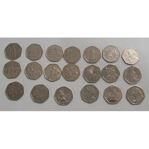 764 - 20 Collectable 50p Coins incl. Flopsy Bunny, Public Libraries, Tom Kitten, Benjamin Bunny, Battle of...