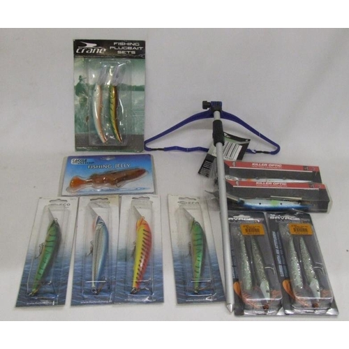1044 - Angling Equipment incl. rod rest, Killer Optic lures, Savage Sand Eel lures, Fladen Deep Diving 14cm...
