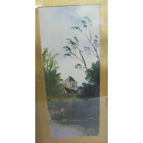 415 - Pair F/g Gilt Framed Watercolours Lake Scenes, each approx. 25 1/2