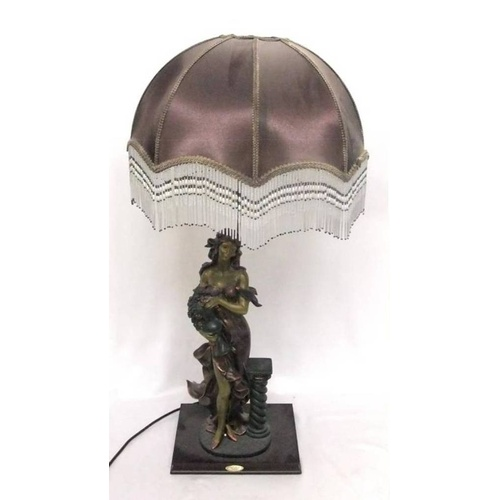 832 - The Juliana Collection Figural Table Lamp marked 1985 with tasselled shade, approx. 32