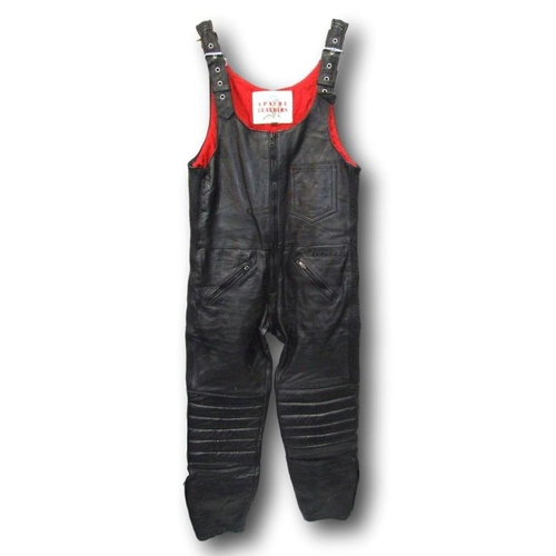 951 - Apache Black Leather Motorcycle Overalls, size L...
