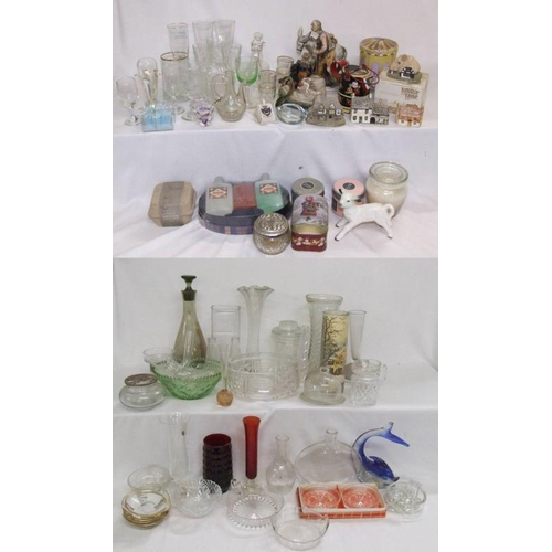 1025 - Glassware incl. vases, decanter, bowls, small glass dome, dishes, bottles, candlestick, wine glasses...