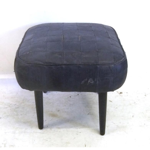 230 - Black Leather Patchwork Stool on tapering supports (A3)...