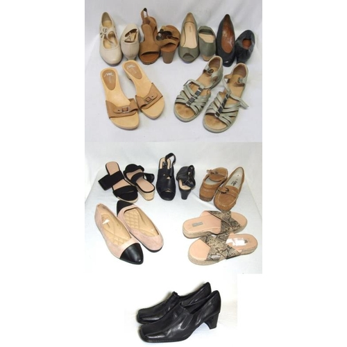 1059 - Ladies Shoes Size 7: Hotter cream leather, Footflex brown leather, Profile as new khaki canvas, Van ...