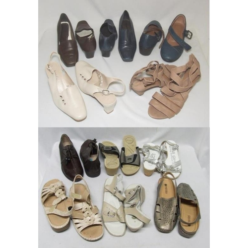 1065 - Ladies Shoes Size 6: Van Daal cream leather, Hotter blue leather, Clarks beige leather sandals, Foot...