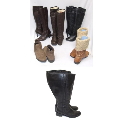 1067 - 5 Pairs Ladies Boots Size 6: Next black leather, Jones brown leather, Lilley brown leather look, Fai...