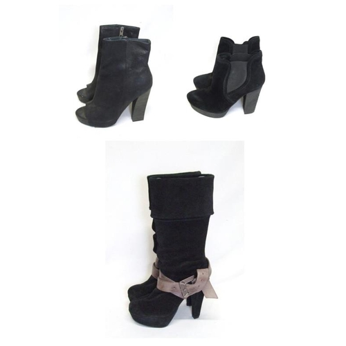 1147 - Ladies Boots Size 3: As New Ladies French Connection 'Jennabeth' Black Suede Calf Length Boots, All ...