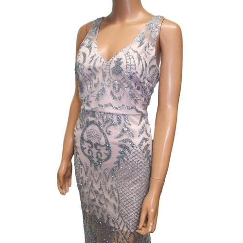 1176 - Grey Glitter Fabric Evening Dress, approx. size 12/14...