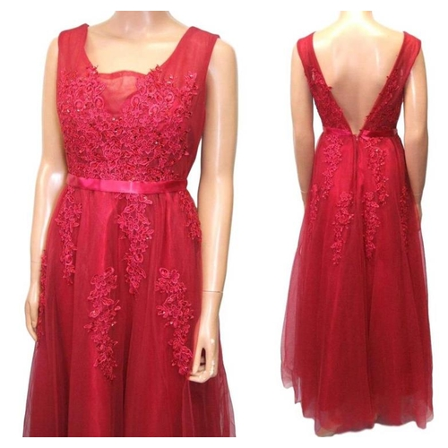 1179 - Red Satin & Net Evening Dress with beaded detail, approx. size 14...