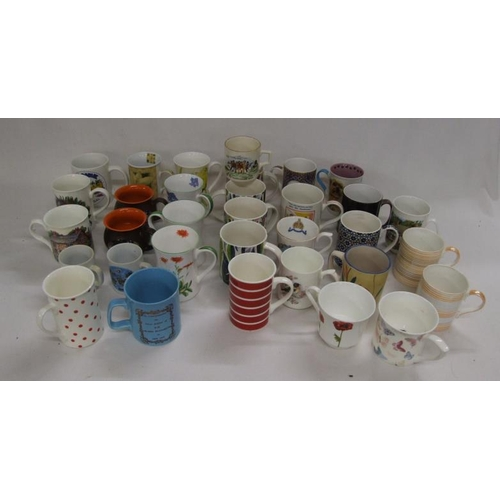 1040 - Mugs incl. Monkey World, Marlborough ceramics set of 4 'Bog Plant', Widdecombe Pottery, James Dean p...