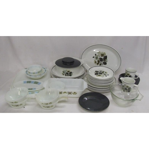 1042 - Part Johnson Bros. Wildmoor Dinner Service, Pyrex dishes, serving platter, measuring jug, storage ja...