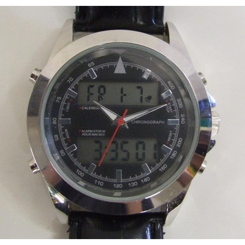 497 - Gents Chronograph Alarm Stopwatch with multiple wind dials, baton markers & digital displays, sweep ...