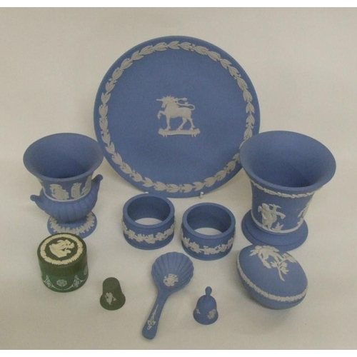 636A - Wedgwood Jasper Ware Items incl. egg shaped trinket pot & cover, vases, 2 napkin rings, caddy spoon,...