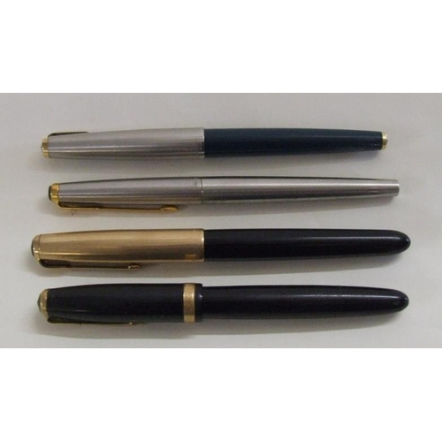 664A - Fountain Pens incl. Parker with blue plastic body, stainless steel cap & gilt clip, Parker Vacuumati...
