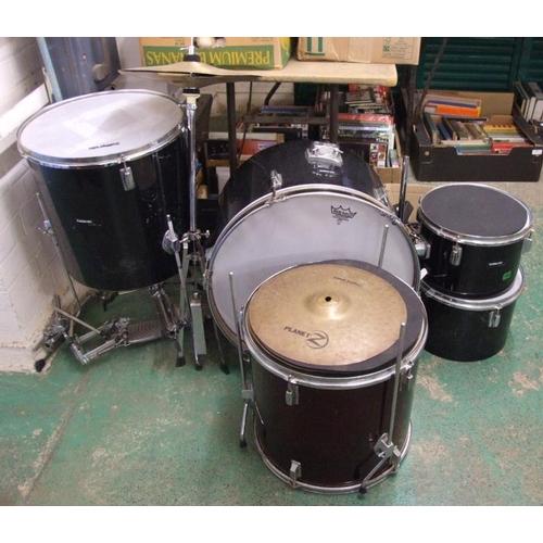 798 - Drum Kit: California Bass drum, 2 rack toms, floor tom, pulse percussion floor tom, hi-hat, crash, d...