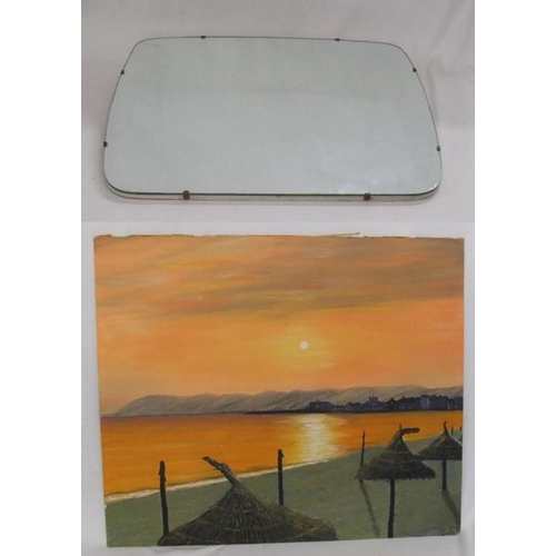 422 - Oil on Board Beach Scene at sunset with straw canopies & buildings to distance & Shaped Mirror from ...