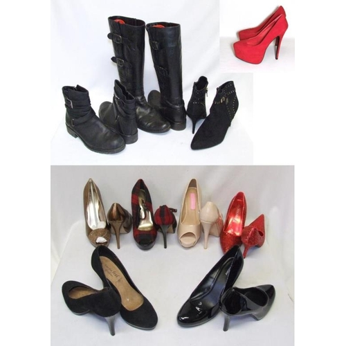 1056 - Ladies Boots & Shoes Size 7: New Look as new gold leather, Red Herring tartan, Graceland black paten...