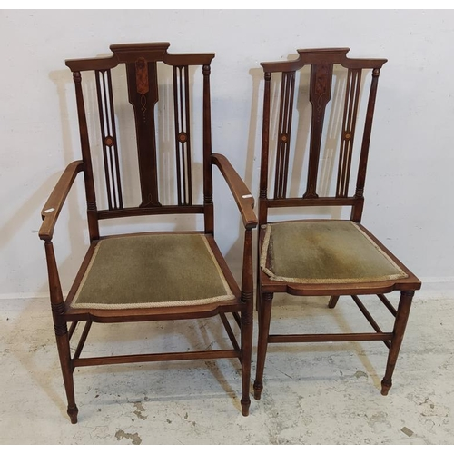 10 - Late Victorian Art Nouveau Style Open Armchair  on circular turned supports, raised arms, boxwood & ...