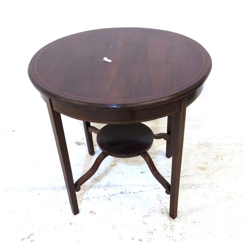 13 - Edwardian Circular Mahogany Boxwood Strung Centre Table (reduced in height) with under tier (FWL)...