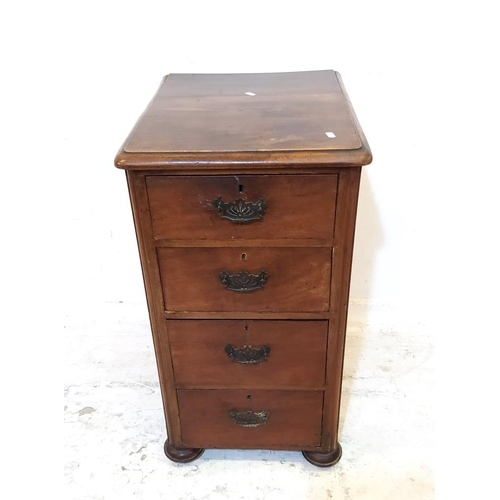14 - Mahogany 4 Drawer Pedestal with pierced plate handles (A5)...