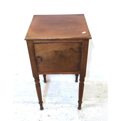16 - C19th Mahogany Bedside Cabinet with RH hinged door, on turned supports (A4)...