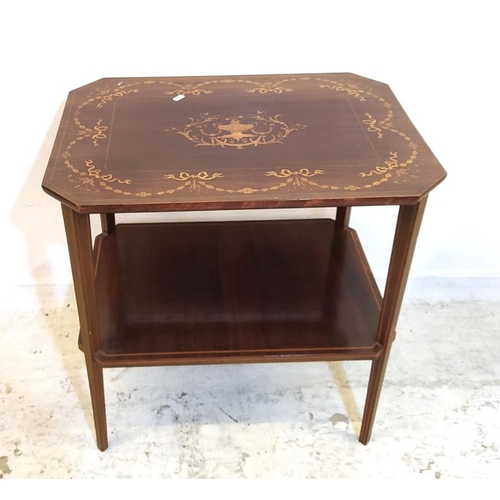 17 - Marquetry Mahogany 2 Tier Side Table with rectangular canted corner top, boxwood strung & inlaid wit...