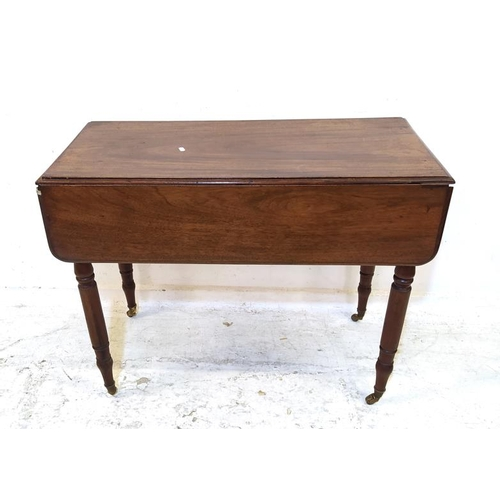 21 - C19th Mahogany Pembroke Table on turned supports with castors, frieze drawer (A3)...