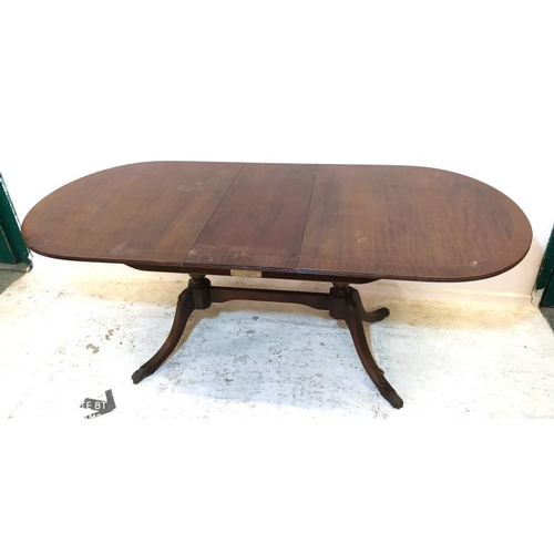 33 - Reproduction Mahogany D-End Dining Table on vase turned columns with sabre supports, integral centre...