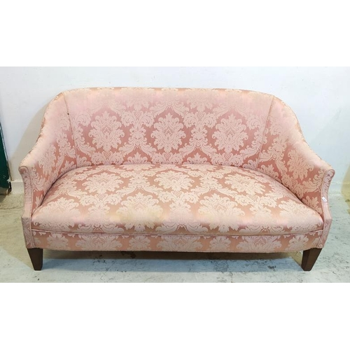 9 - Cloth Covered 2/3 Seater Sofa on square tapering supports (A6 F)...