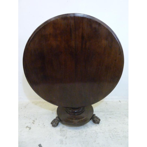 24 - Early Victorian/Late Regency Circular Breakfast Table on faceted column, on animal paw supports, req...