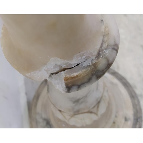 30 - Alabaster/Marble Stand with turned centre column with bowl plateau A/F (A12)...