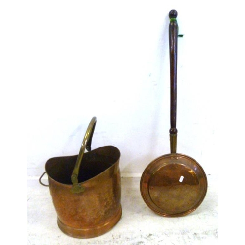 11A - Copper Coal Bucket with brass handle & Copper Warming Pan with turned wood handle (2) (A6)...
