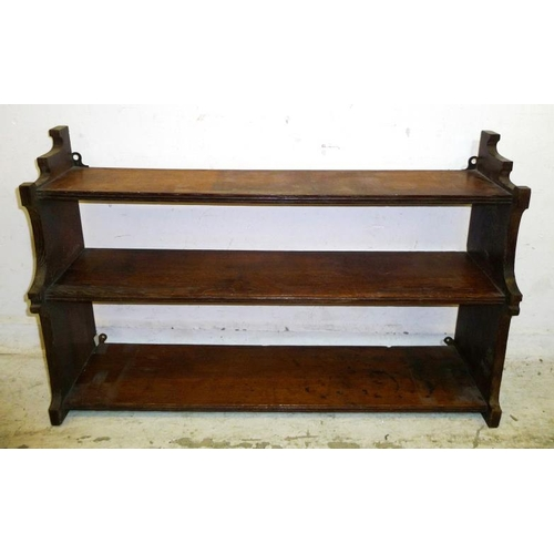 18 - Hanging Carved Continental Style Oak Shelves with leaves & thistles, small upstand (A1)...
