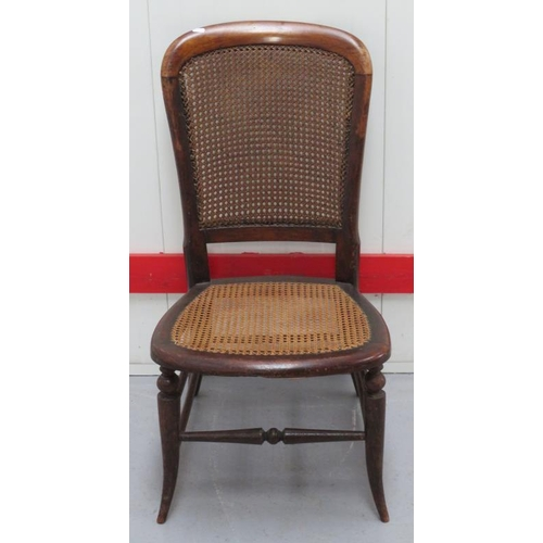 28 - Victorian Bergere Seated Caned Back Side Chair on turned swept supports (A2)...