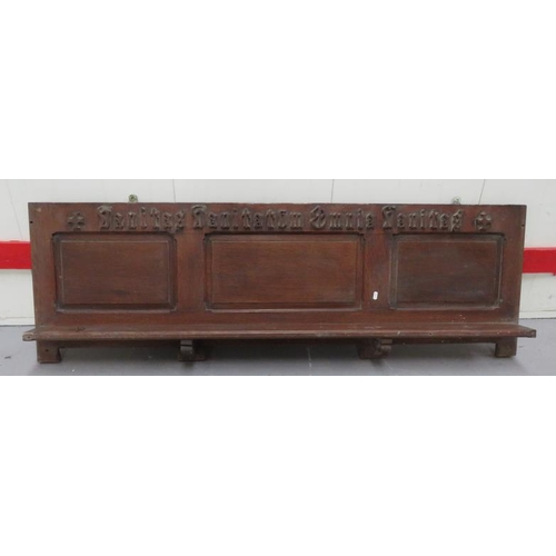 30 - Oak Triple Panelled Shelf with Latin inscription & carved crosses at each end (A13)...