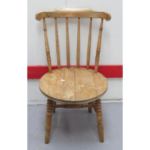 31 - Single Beech Circular Seated Victorian Side Chair with turned supports, spindle back (A6)...