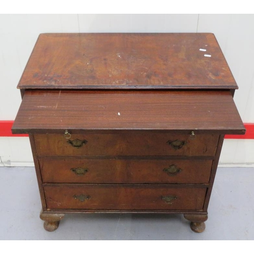 11 - C19th Walnut Chest on later cabriole feet, 4 long drawers, plate brass handles, pull out brushing sl...