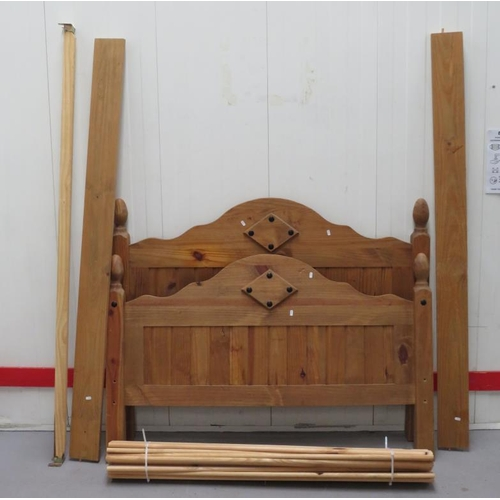 4 - Pine Double Bed with serpentine headboard with tongue & groove effect panels, acorn finials, matchin...