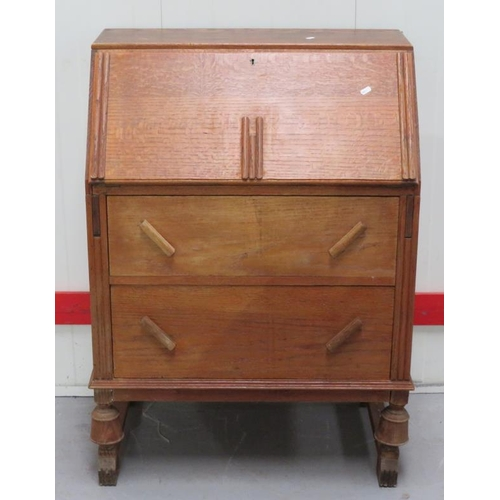 5 - Golden Oak Bureau, 2 long drawers, art deco mouldings, fall enclosing fitted nest with 3 small drawe...